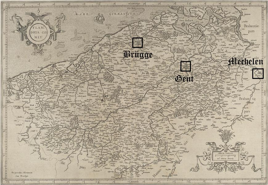 Eine historische Karte von Flandern, auf der Brügge, Gent und Mechelen markiert sind.