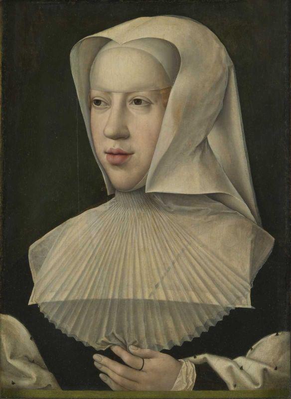 """Portrait von Margarete von Österreich in Witwentracht, Protagonistin im Roman """"Der Damenfriede""""."""