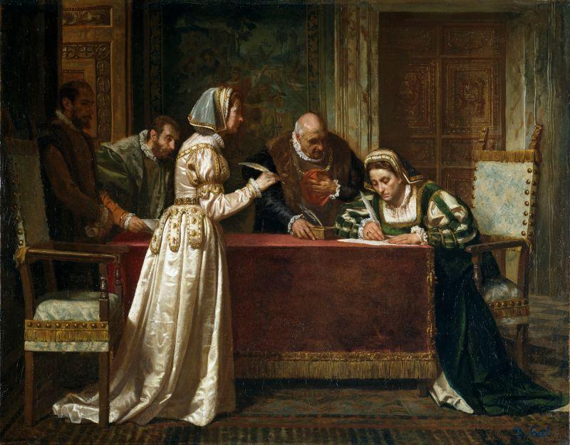 Der Damenfriede von Cambrai wird unterzeichnet, Gemälde aus dem 19. Jahrhundert.