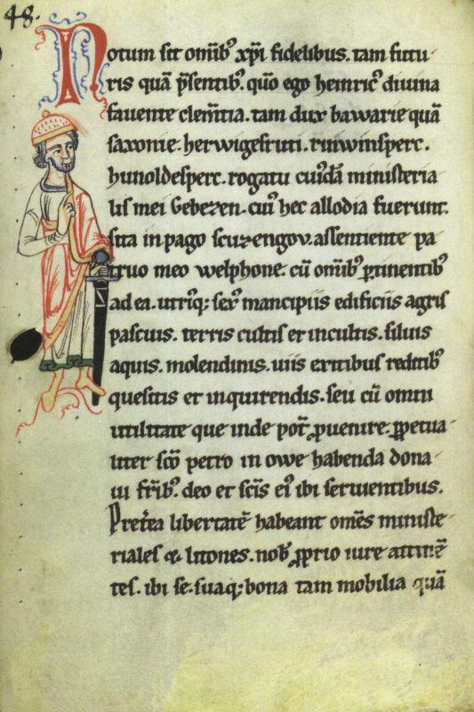 Miniatur Heinrichs des Löwen in einer Handschrift aus dem Mittelalter.