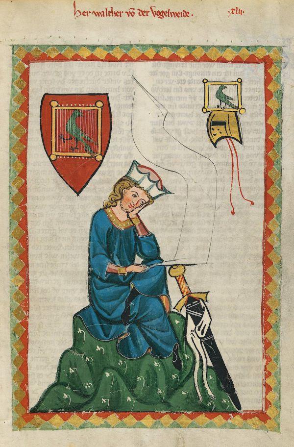 Walther von der Vogelweide, abgebildet im Codex Manesse.