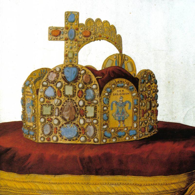 Kolorierter Stich der Reichskrone aus dem 18. Jahrhundert.
