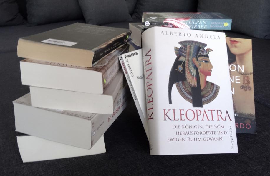 Ein Stapel Bücher, in dem es um Geschichte geht: Romane und Sachbücher.