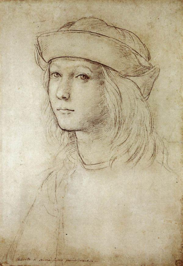 Zeichnung eines Jungen von Raffael, wahrscheinlich ein Selbstportrait.