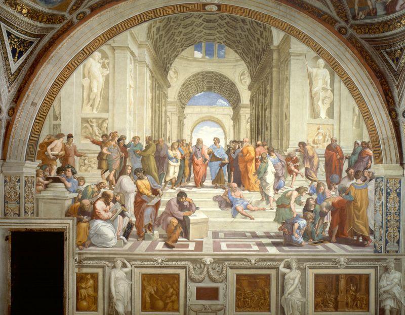 """Das Fresko """"Die Schule von Athen"""" von Raffael im Vatikan."""