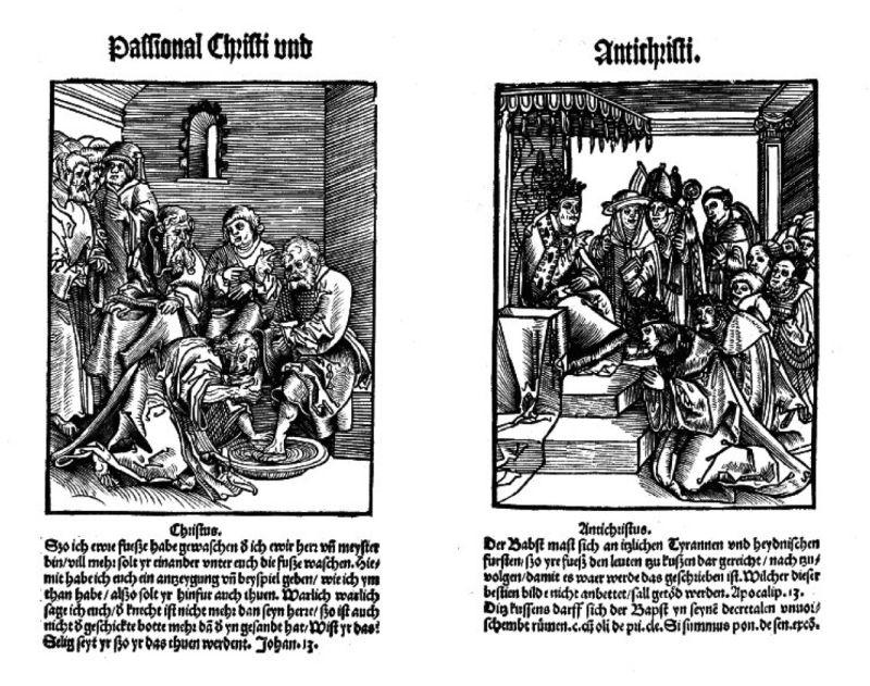 Das Passional Christi und Antichristi, gedruckt in Wittenberg während der Reformation. Jesus und der Papst werden einander gegenübergestellt.