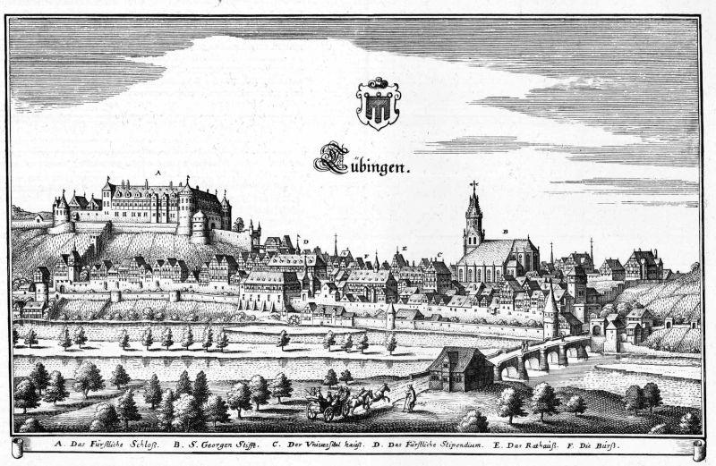 Stadtansicht von Tübingen um 1650.