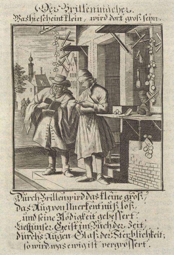 Ein Mann kauft eine Brille in einem Geschäft, 17. Jahrhundert.