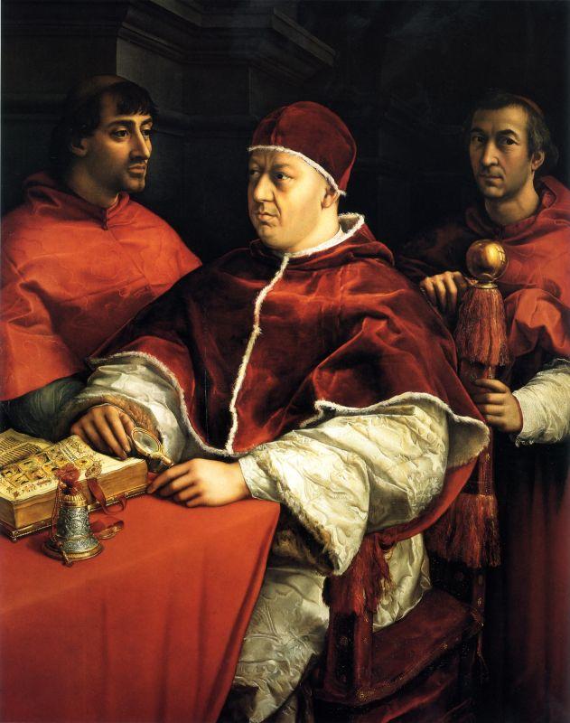 Gemälde von Papst Leo X., der zwar keine Brille, aber eine Leselupe in der Hand hält.