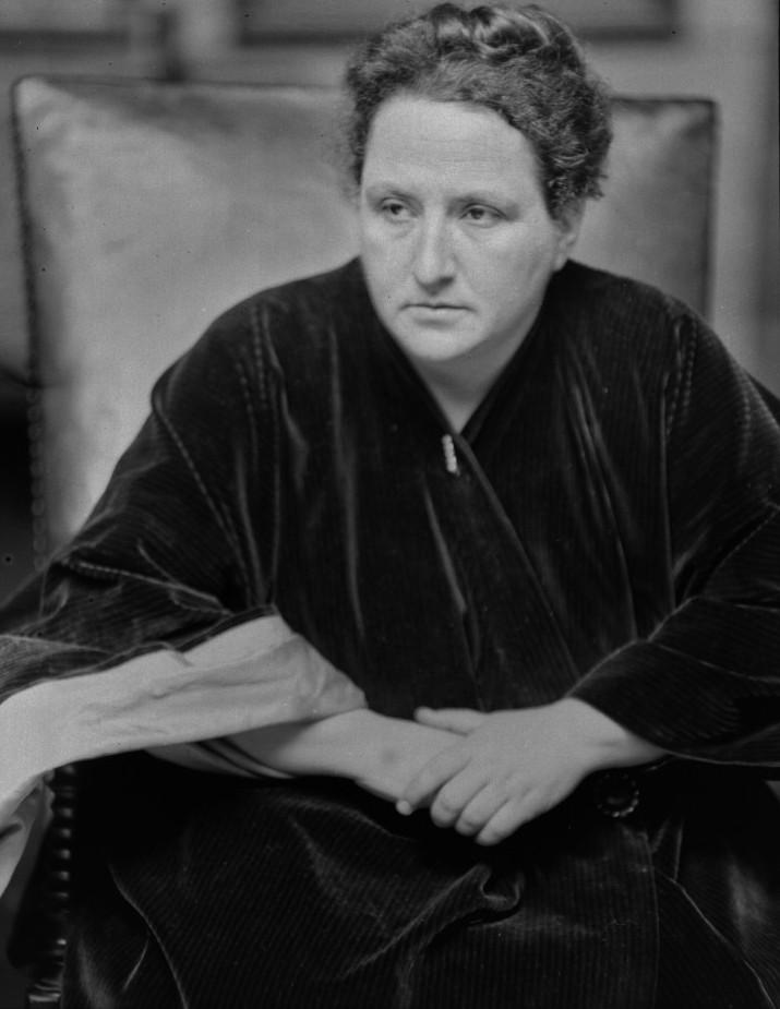 """Die Literatin und Mäzenin Gertrude Stein - und die einzige Person in Beachs Umfeld, die """"Ulysses"""" wirklich nicht mochte."""