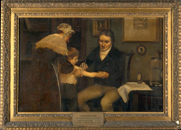 Edward Jenner impft gegen die Pocken.
