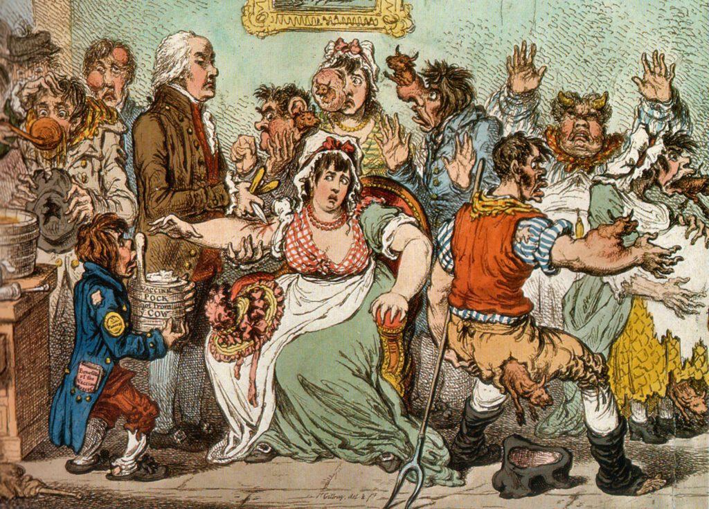 Eine Karikatur gegen die Pockenimpfung.