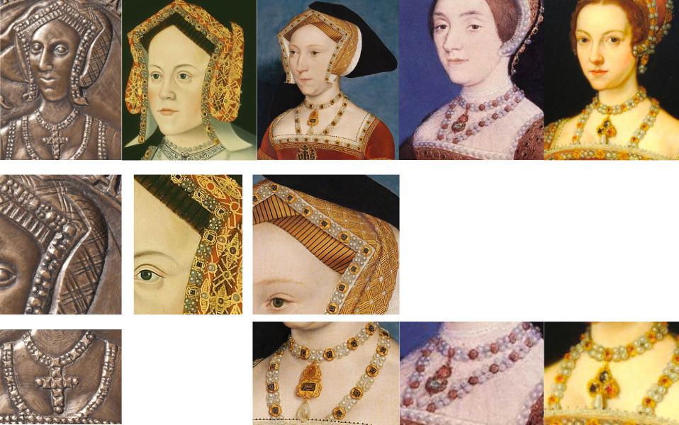 Ein Vergleich der Hauben und des Schmucks von den Königinnen Heinrichs VIII.