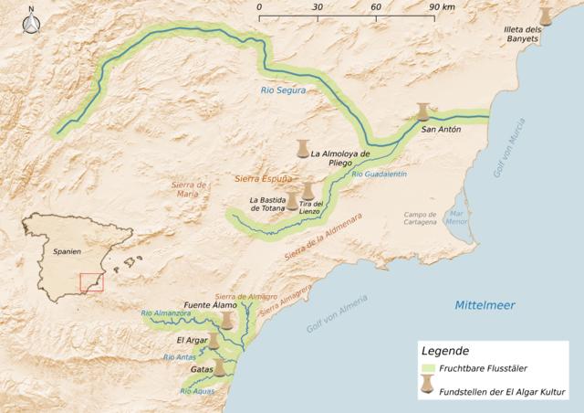Das Gebiet der El-Argar-Kultur mit den wichtigsten Fundstätten.