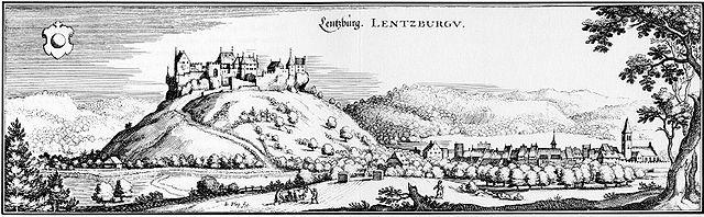 Die Lenzburg in einem frühneuzeitlichen Stich.